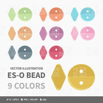 Two-hole Es-O Bead Clip Art Pack - Es-O Beads Vector Illustration - ai, eps, pdf, png