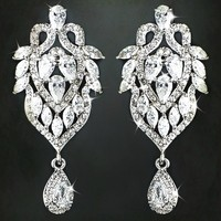 Rhodium Clear Marquise & Teardrop CZ Drop Earrings from LucyAlia's Bridal Closet