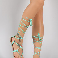 Colorful Options Strappy Lace Up Gladiator Flat Sandal