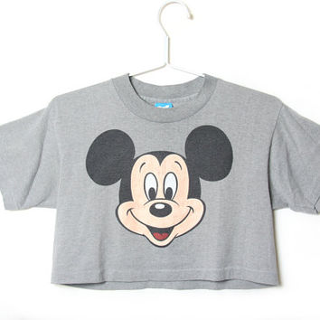 80s Mickey Mouse Crop Top - 1980s 80s - Mickey Mouse Shirt - Mickey Mouse T Shirt - Disney - Mickey Shirt - Mickey Crop Top - Mickey Tee