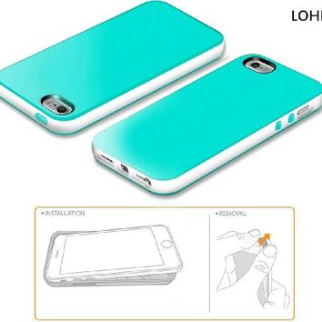 LoHi(TM)Apple iPhone 5 5s Soft Bumper Cases [Updated Version][Drop Resistance]Slim Case Cover Shockproof Rubber Cases Anti-scratch Shell Premium Dual Color TPU Cover for iPhone 5s /iPhone 5 5G (Aqua Green/White)