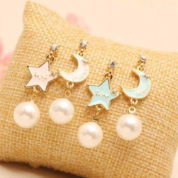 Sweet Pearl Earrings Rhinestone Star Moon Cute Earrings