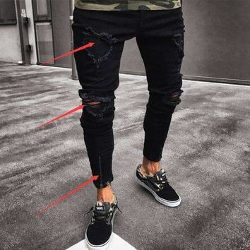 2018 New Mens Jeans Fashion Men's Ripped Skinny Jeans Destroyed Frayed Slim Fit Denim Zipper Jeans
