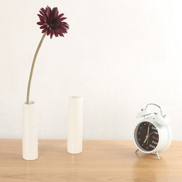 Simple white ceramic long vase