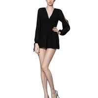 Black Ruched Plunging V-Neckline Romper with Sleeve Cut-Outs