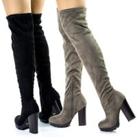 Gaby14s By Bamboo, OTK Over Knee Thigh High Pull-On Slouch Suede Boots w Threaded Lug Sole