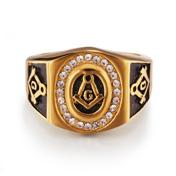 US size 7 to 13 New Cool Mens Gold with AAA+ zircon Free Mason Freemasonry Masonic Ring 316L Stainless Steel Band Ring