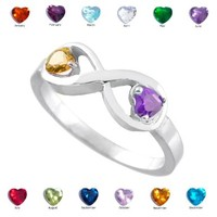 Dainty 925 Sterling Silver Personalized Mix-and-Match Dual CZ Heart Birthstone Infinity Ring:Amazon:Jewelry