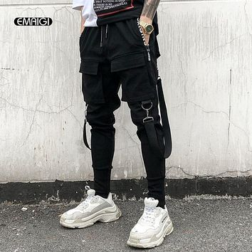 Men Multi-pocket Elastic Waist Design Harem Pant Street Punk Hip Hop Casual Trousers Joggers Male Dancing Pant