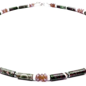 """Wise Choices"" Men's Crystal Healing Iuntention Necklace Rhodocrosite, Rhyolite, White Turquoise MN38"