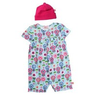 Zutano Baby-Girls Dizzy Daisy Cap Sleeve Romber and Hat Set, Multi, 3 Months