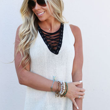 Xena Lace-up Tank {Cream}