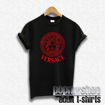 versace shirt versace red logo shirt medusa head black DW01