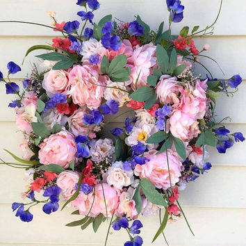 Spring Door Wreath, Spring Wreath, Pink Floral Wreath, Pink Door Wreaths, Front Door Wreaths, Door Wreath Pink, Summer Wreath, Pink Wreath
