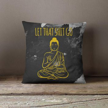 Black and Gold Buddha Pillow
