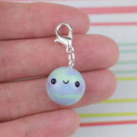 Kawaii Earth Planet Charm | Cute Polymer Clay Jewelry | Handmade Gift | Charm Necklace Bracelet