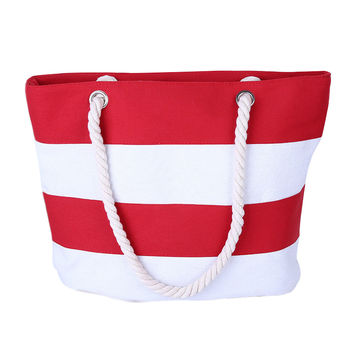Beach Canvas Bag Fashion Stripes Printing Handbags Ladies Large Shoulder Bag Totes Casual Bag Shopping Bags