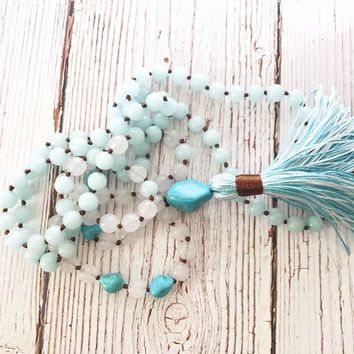 108 mala beads Necklaces Hand Knotted White jades necklace Bule Meditation Necklaces tassel necklace Yoga Mala Bead best gift