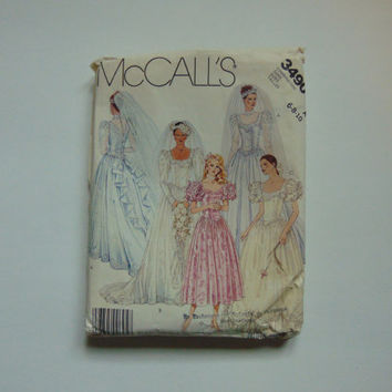 McCall's 3490 Bridal Gown Wedding Dress Bridesmaids Sewing Pattern, Sz 6-10