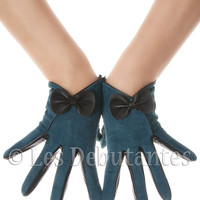 Green Suede Bow Leather Gloves Vintage Pattern