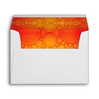 Cute, holiday, red orange bubble photo art lined envelope