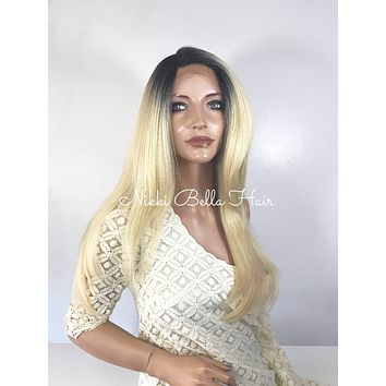 Ombre' Balayage Blond Volume Straight  Human Hair Blend Multi Parting Lace Front Wig - Marissa