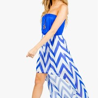 Zig Zag Blouson Hi Lo Dress