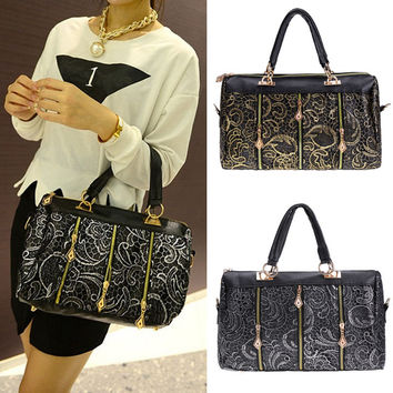 New Fashion Elegant Women's Lace Style Synthetic Leather Handbag Shoulder Bag Cross Bag
