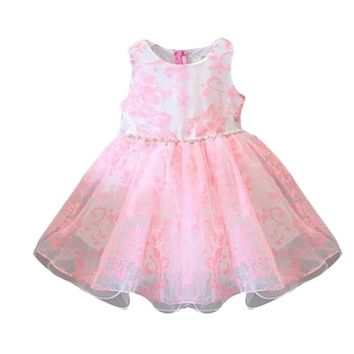 Summer Baby Girls Party Clothes Kids Dresses with Floral Printed Bowknot Sleeveless Princess Wedding Dancewear Tutu Dresses