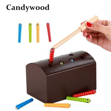 Candywood Wooden catch caterpillar toys for baby kids educational children early learning Parent-child interaction toys block