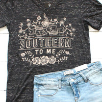 Talk Southern to Me Short Sleeve Tee {Black Marble}