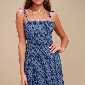 Cambria Blue Print Mini Dress