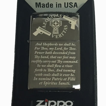 Zippo Custom Lighter - Boondock Saints Prayer Black Ice Polished Chrome Limited Edition 150MP400252