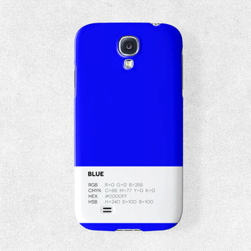 Samsung Galaxy s4 Case Samsung Galaxy s3 Case Unique Phone Case Pantone Phone Case Plain Phone Case Samsung s4 Case Phone Covers Blue Case