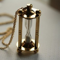 Hourglass Necklace, Long Chain, Timepiece Pendant, Gold Metal, Unique Necklace, Vintage Style, Time Jewelry