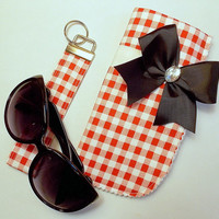 Sunglasses Case and Wristlet Key Fob Set Red and White Gingham