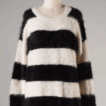 Shop Black Fuzzy Sweater on Wanelo