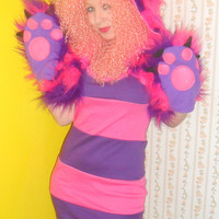 Cheshire Cat Costume Dress Only Alice in Wonderland Cosplay Raver Fancy Dress Kawaii Halloween