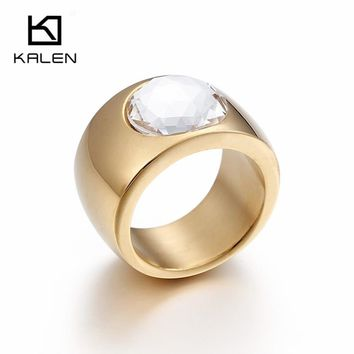 Kalen Big Rhinestone Rings For Women Stainless Steel Dubai Gold Finger Rings Femme Wedding Engagement Rings Jewelry From China