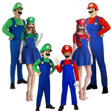 Super Mario party nes switch 2018 New year  Cosplay Costumes Children family Funy Luigi Bros Plumber Purim Costume Fancy Dress Christmas party AT_80_8