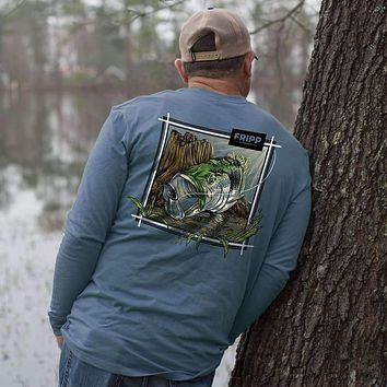 Large Mouth Bass Underwater Long Sleeve Tee by Fripp Outdoors