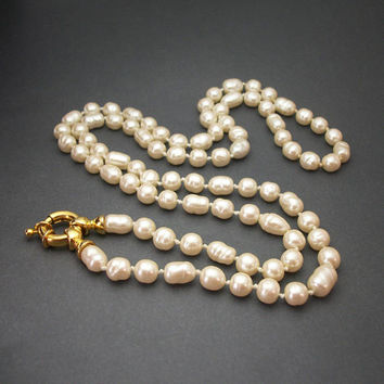Vintage Hand Knotted Genuine Freshwater Pearl Necklace, 36 Inch Single Strand Pearls with Large Chunky Gold Tone Spring Ring Clasp