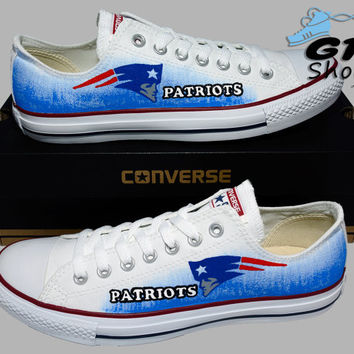 Hand Painted Converse Lo. New England Patriots, Football. Sports. Handpainted Shoes. optical white