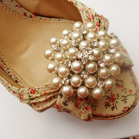 Pearl Shoe Clips with Rhinestone Crystal