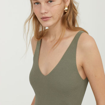 Rib-knit Top - Khaki green - Ladies | H&M US