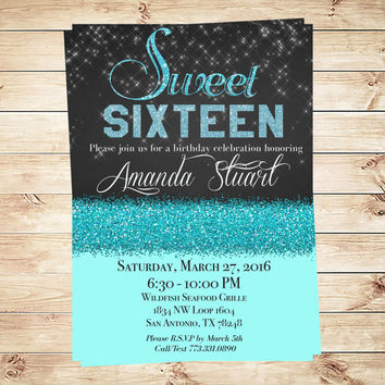 Sweet 16 blue water birthday party  invitation, Sweet 16 Invitations & Teen Birthday Invitations, sweet 16 glitter, sweet 16 invites