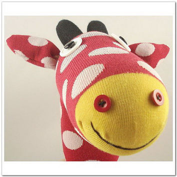 Handmade Sock Giraffe Stuffed Animal Doll Baby by supersockmonkeys