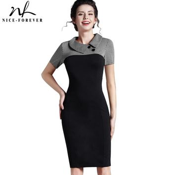 Nice-forever Elegant Vintage Fitted winter dress full Sleeve Patchwork Turn-down Collar Button Business Sheath Pencil Dress b238