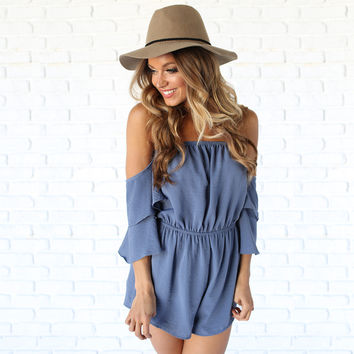 Enchantress Off Shoulder Romper In Blue