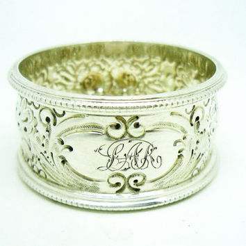 Solid Silver Napkin Ring, Victorian, Sterling, English, Antique, Serviette, Hallmarked Sheffield 1894, Walker & Hall, REF:256F